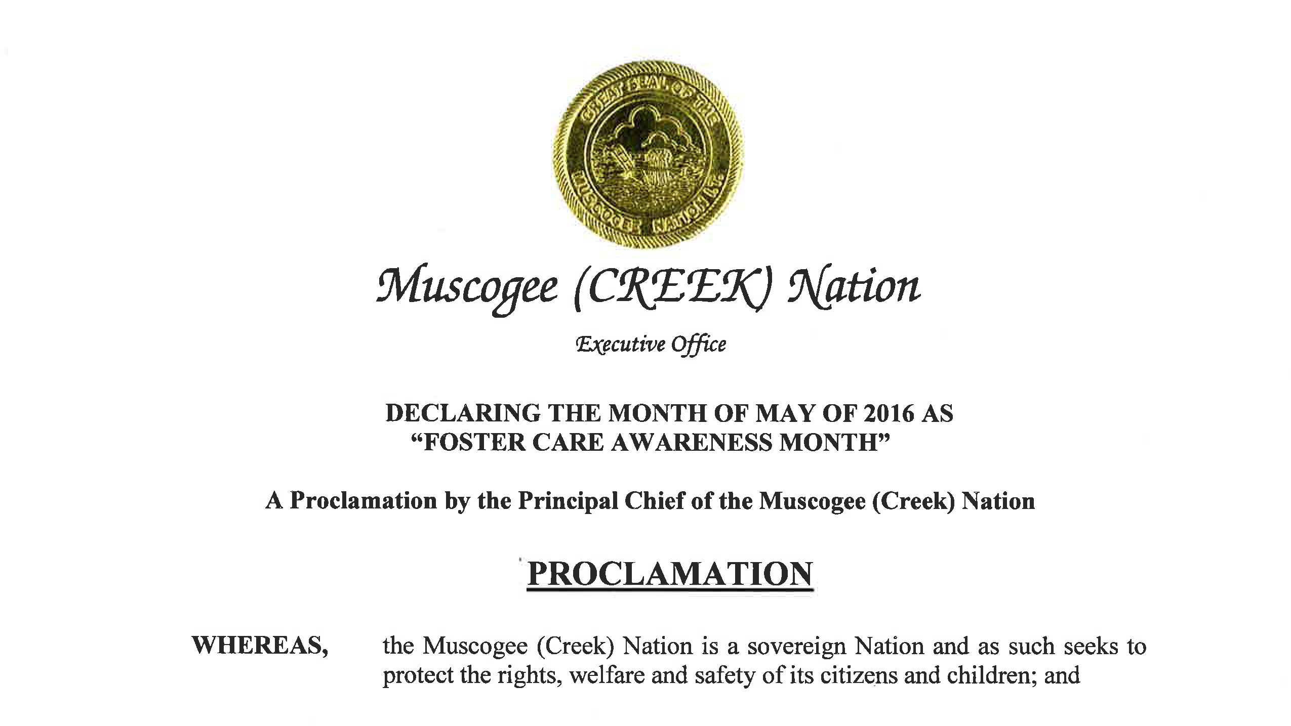 Foster Care Awareness Month Proclamation – Muscogee (Creek