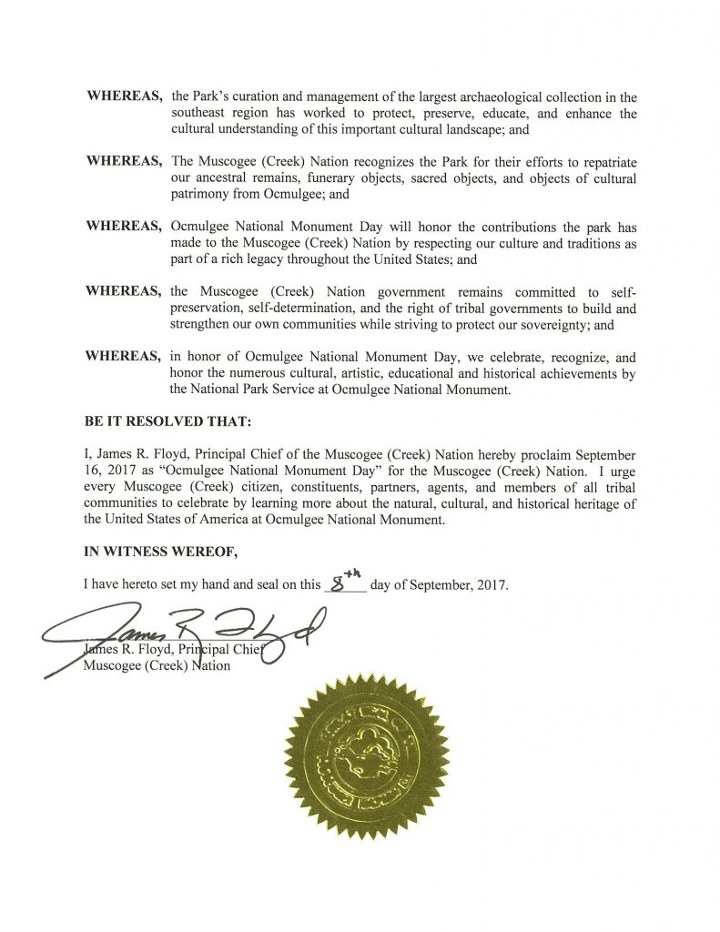 Proclamation for Ocmulgee National Monument Day – Muscogee
