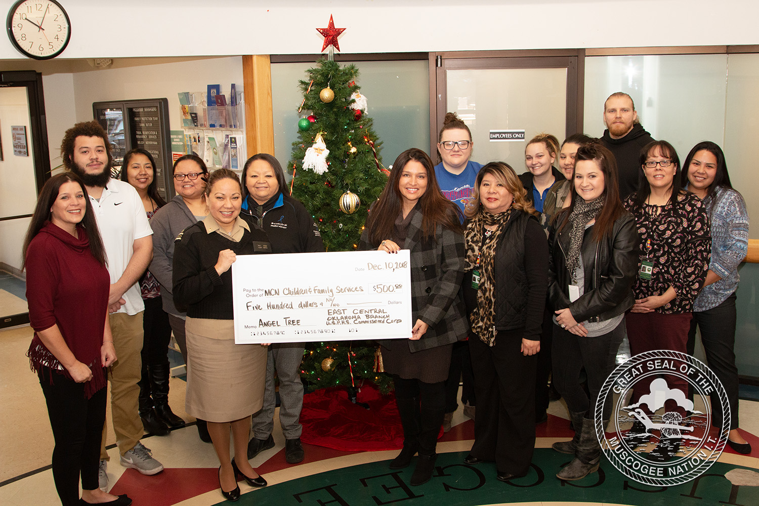 US Public Health Service Commissioned Officers Association East Central Oklahoma Branch donates $500.00 to Muscogee (Creek) Nation Angel Tree Project
