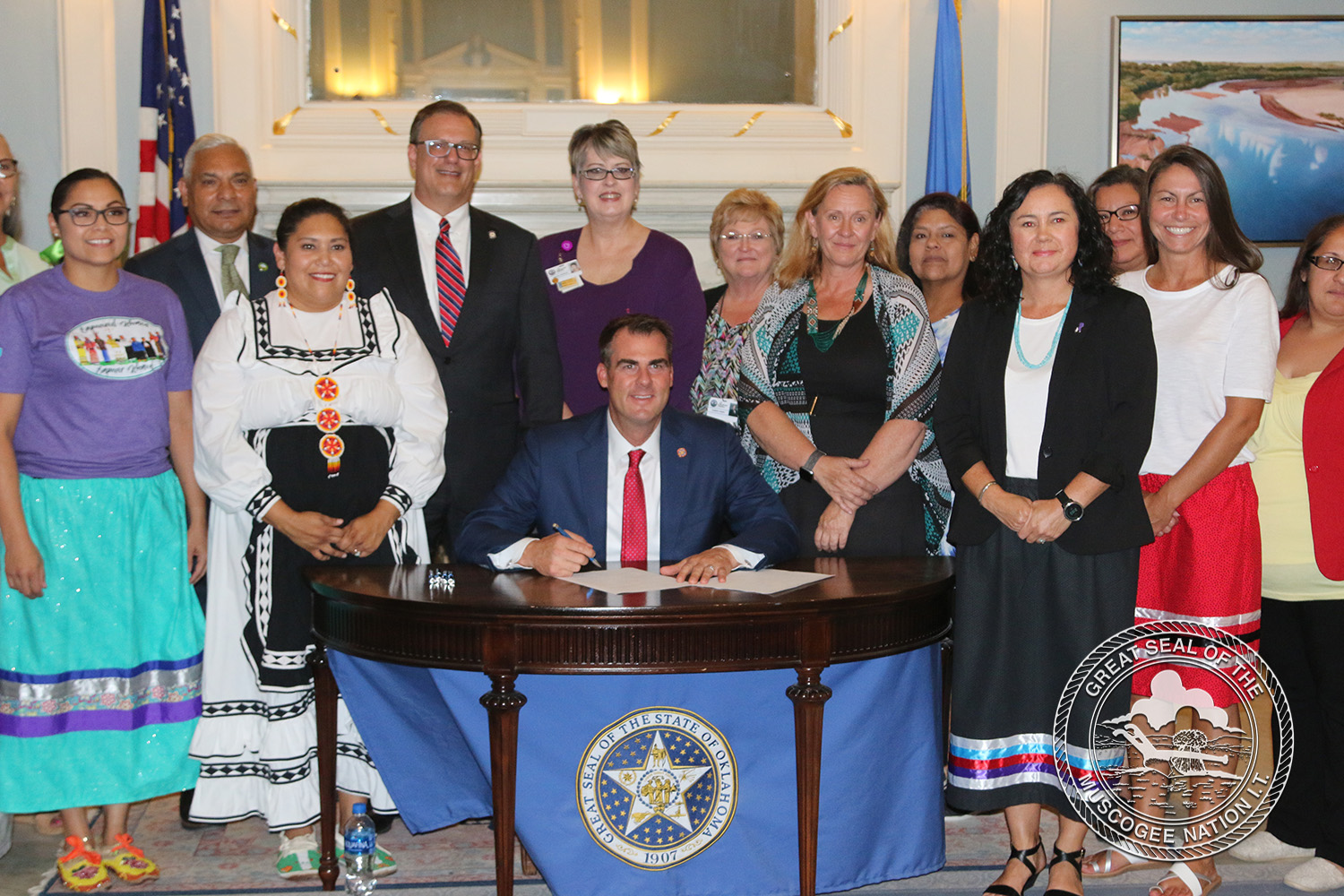 Muscogee (Creek) Nation witnesses Governor sign bill at Capitol